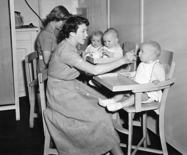 Feeding in highchairs -1944