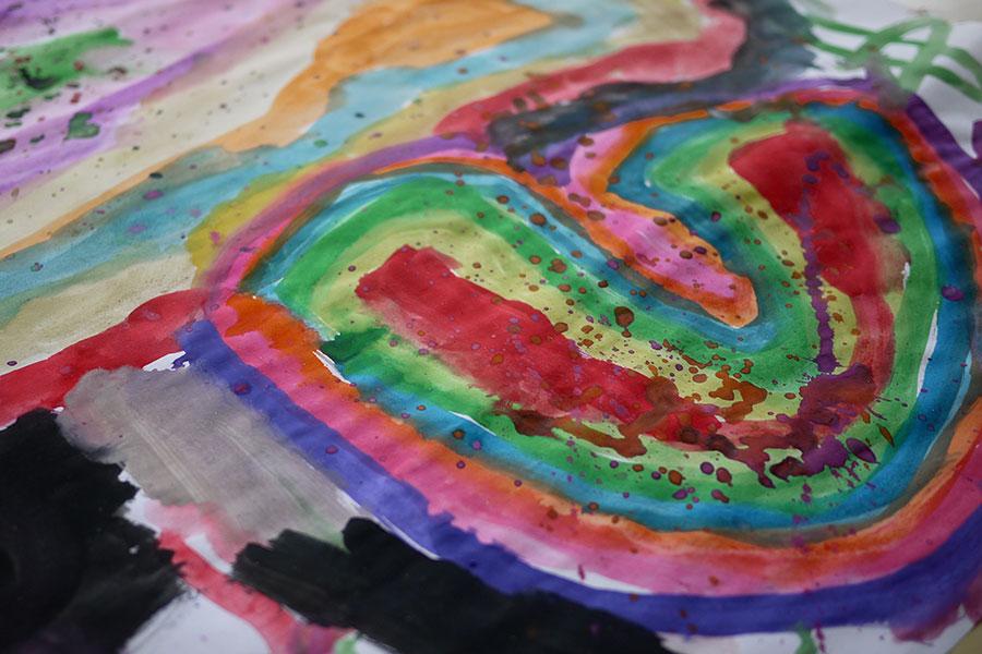 Junior Kindy - Rainbow painting