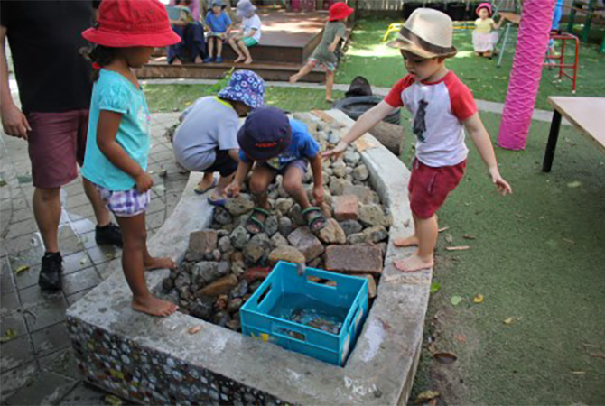 Kindy - Water feature - with rocks